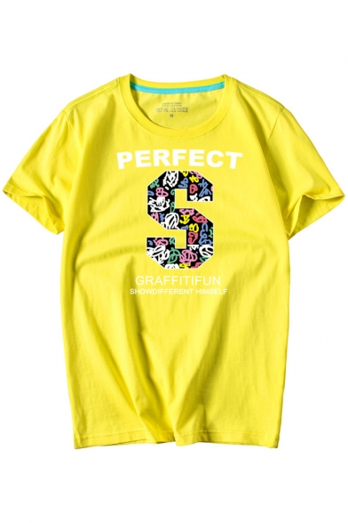 Letter Round S PERFECT Sleeve Short Tee Neck Printed ROq5wqxT