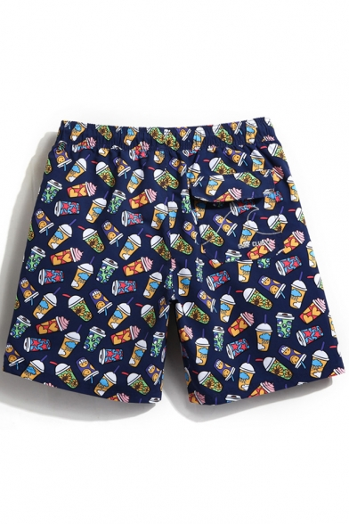Quick Dry Drawstring Navy Blue Cold Drink Print Swimming Shorts for Men with Mesh Brief