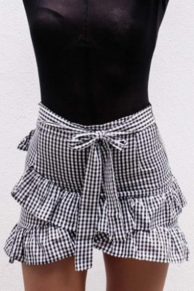 Ruffle Detail Plaid Printed Bow Tied Front Mini Asymmetric Skirt