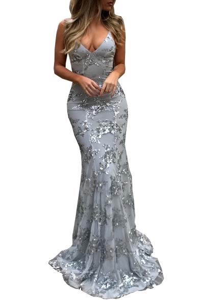 Sequined Embellished Spaghetti Straps Lace Up Back Sleeveless Maxi Party Dress