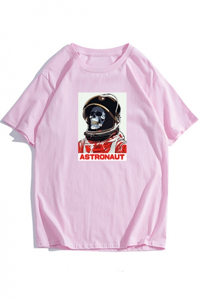 Round Letter Short Astronaut Skull Printed Sleeve Neck Tee p7FHqxPW