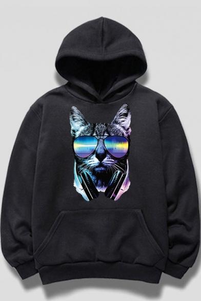 Sun Glasses Cat Printed Long Sleeve Hoodie