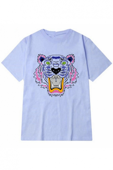 Short Tee Tiger Round Sleeve Neck Print Y4wa4B