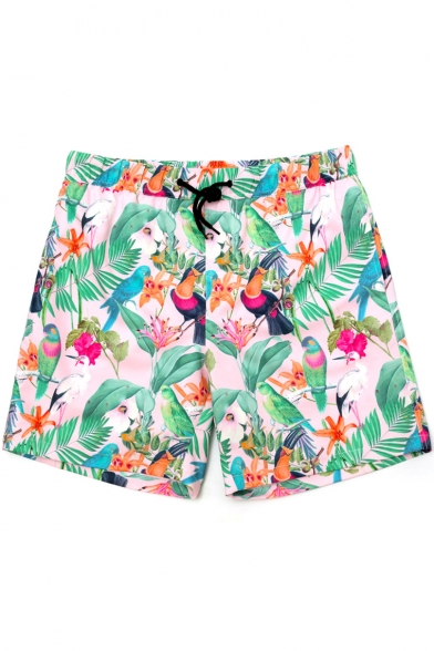 Top Rated Floral Green Tropical Bird Print Stretch Bathing Suits with Drain Hole and Liner