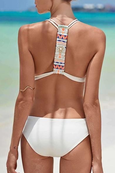Detail Piece Hollow Sleeveless One Swimwear Tribal Printed Straps Out Spaghetti 5Fqxgw7f