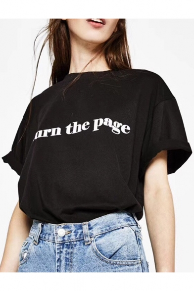 TURN THE PAGE Letter Printed Round Neck Short Sleeve Tee