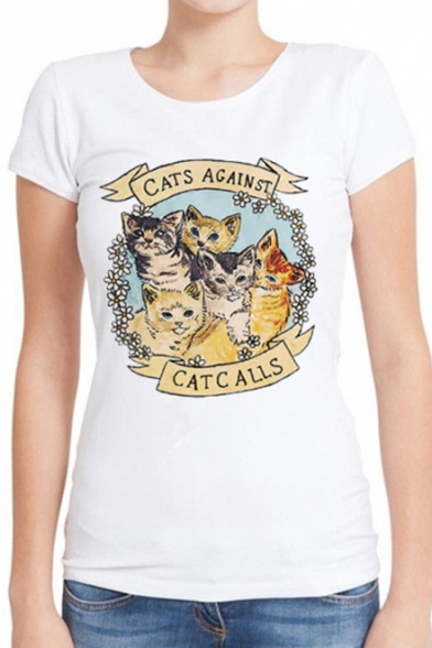 CATS AGAINST Animal Printed Round Neck Short Sleeve Tee