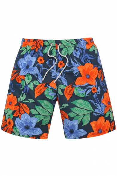 Elastic Men's Quick Drying Navy Blue Floral Pattern Swimming Shorts Trunks without Mesh Liner