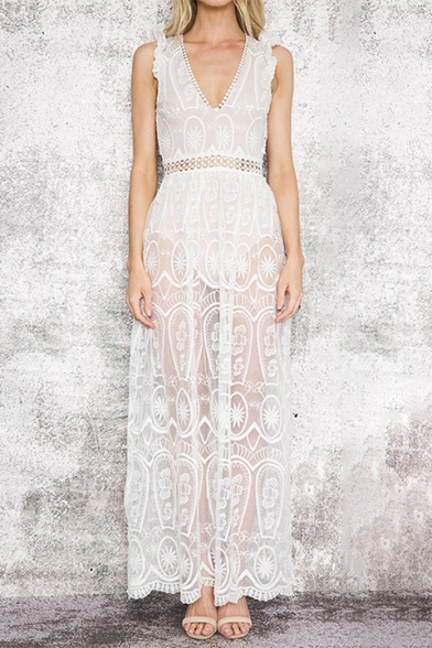 Elegant Hollow Out Back V Neck Sleeveless Maxi Beach Dress