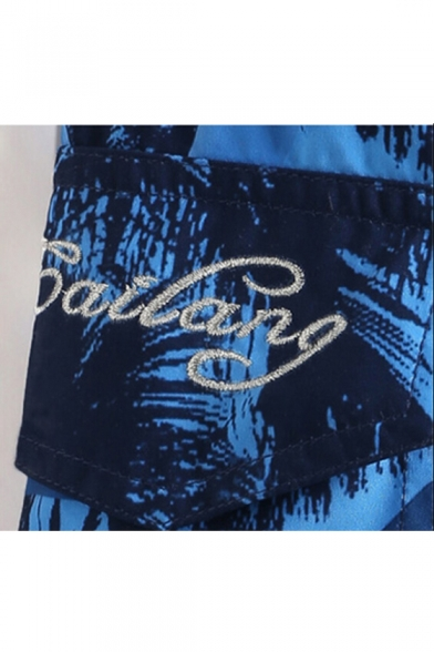 Fancy Designer Men's Blue Palm Letter Embroidery Bathing Shorts with Cargo Pockets and Mesh Lining
