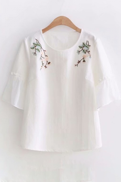 Embroidered Round Half Neck Floral Sleeve Hem Frill Tee 4dRxSwSq