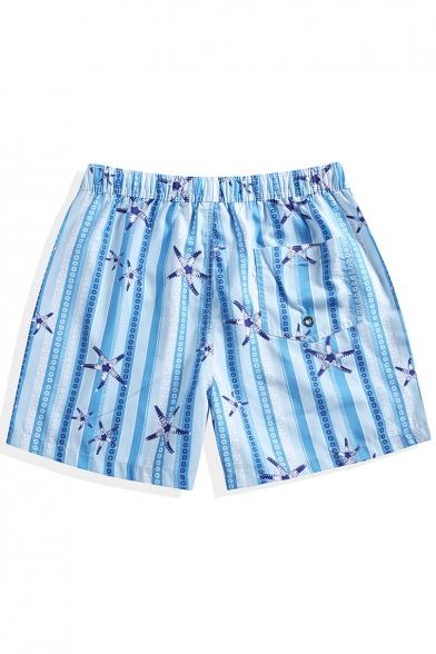 Pop Fashion Quick Drying Elastic Drawcord Mens Blue Striped Starfish Swim Shorts with Brief Liner