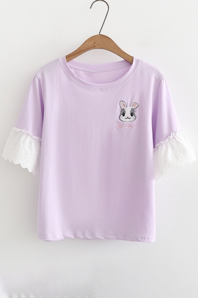 Short Tee Rabbit Sleeve Round Embroidered Neck Hem Ruffle w4zW0zqrXY