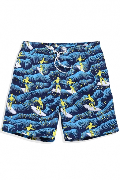 Stylish Designer Navy Blue Male Surfing Cartoon Wave Swim Trunks with Lined Pockets