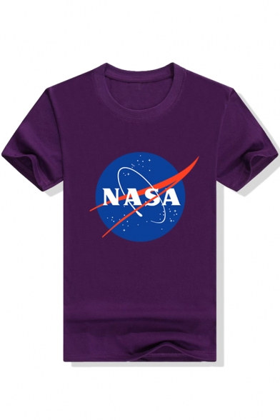 Stylish NASA Planet Earth Print Round Neck Short Sleeves Casual Tee