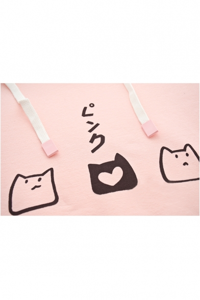 Sweet Long Sleeve Printed Cat Hoodie R88qFwZ0x