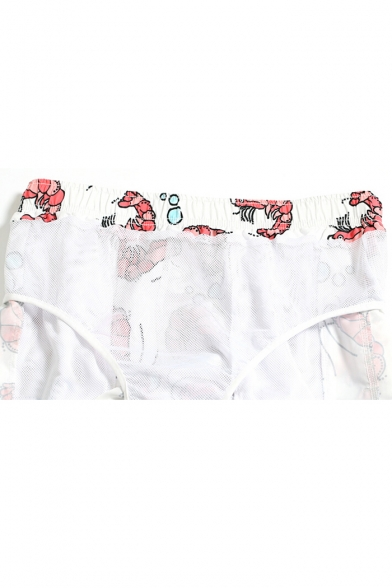 White Awesome Shrimp Pattern Swimming Trunks with Mesh Lining and Pockets
