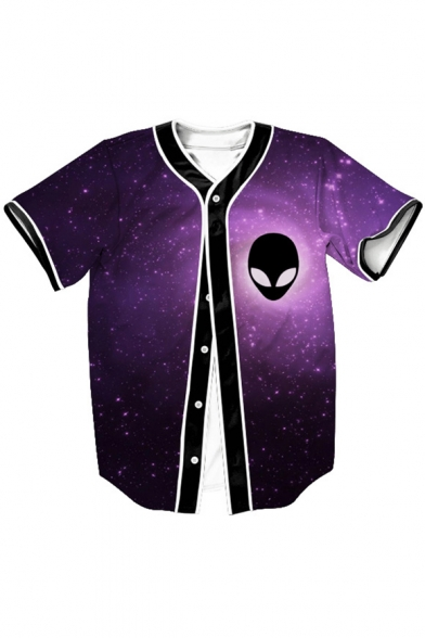 Alien Galaxy Printed Short Sleeve Buttons Down Baseball Tee