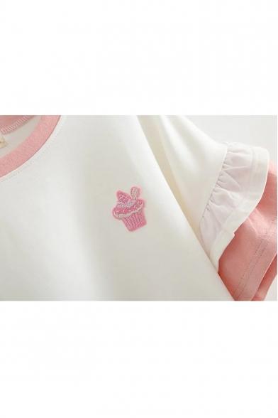 Round Sleeve Ruffle Hem Panel Cake Short Tee Neck Embroidered BvH1qa