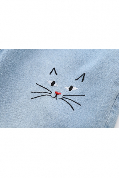 Cat Embroidered Drawstring Waist Loose Crop Jeans