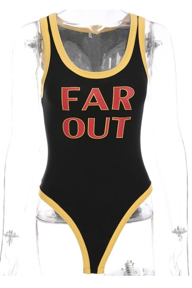 OUT Contrast Round Neck Trim Printed Sleeveless Letter Bodysuit FAR Chic 7Zq5Hq