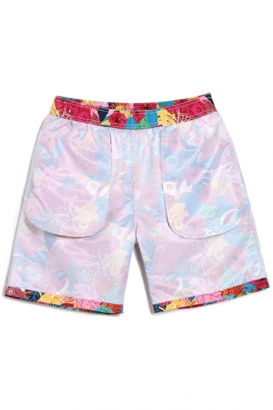 Colorful Mens Red Floral Pattern Swim Shorts with Pockets without Mesh Brief