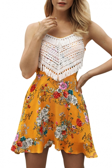 Crochet Tassel Embellished Floral Printed Spaghetti Straps Sleeveless Mini Cami Dress