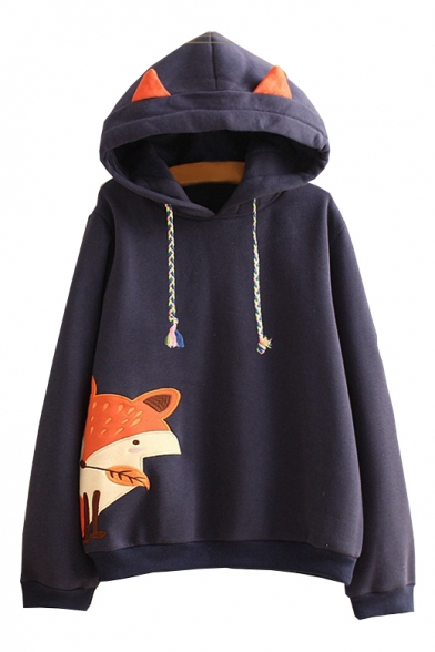 Fox Embroidered Applique Long Sleeve Hoodie