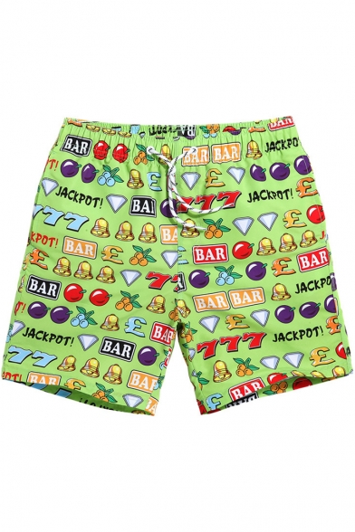 Green Fruit Letter Print Swim Trunks with Drawcord and Mesh Lined Pockets