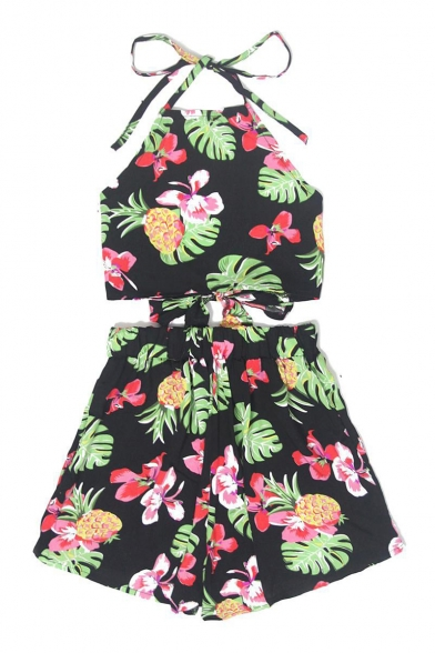 Halter Floral Pineapple Printed Sleeveless Crop Cami with Elastic Waist Culotte Co-ords