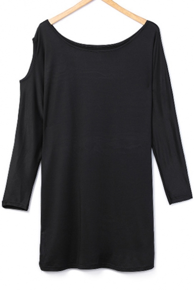 Dress Neck Mini Out Hollow Long Shift Round Sleeve Detail Plain 6znqFwT7