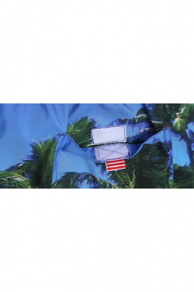 Hot Fashion Men's Blue Sand Palm Swim Trunks Beach Shorts without Liner