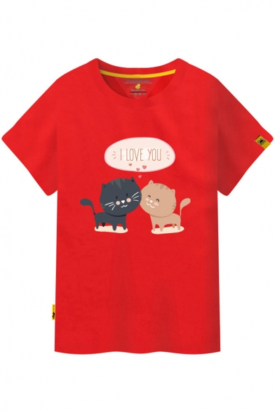 Cat YOU Sleeve Printed Tee Round LOVE I Short Neck q605HEtxw