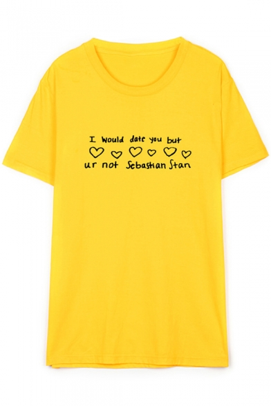 I WOULD DATE YOU Letter Heart Printed Round Neck Short Sleeve Tee