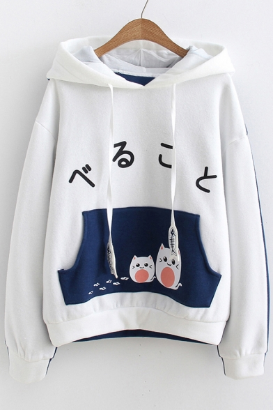 Japanese Cat Printed Color Block Long Sleeve Hoodie LC471612 Baycheer
