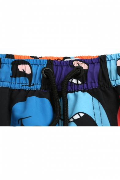 Men's Drawstring Black Cartoon Pattern Beach Trunks with Mesh Brief and Pockets