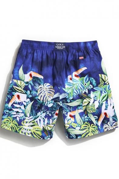 Men's Unique Blue Drawcord Bird Leaf Printed Swim Trunks Shorts with Back Pocket