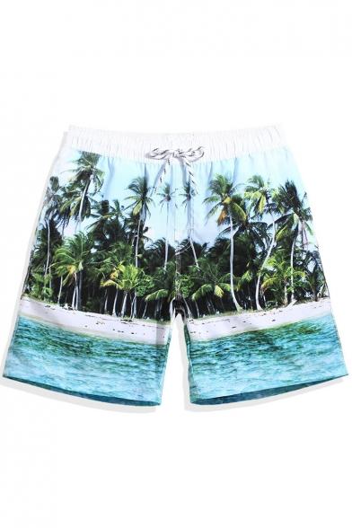 1cb8f83781840 Mens Blue Beach Palm Print Swim Shorts Trunks with Mesh Lined Pockets -  Beautifulhalo.com