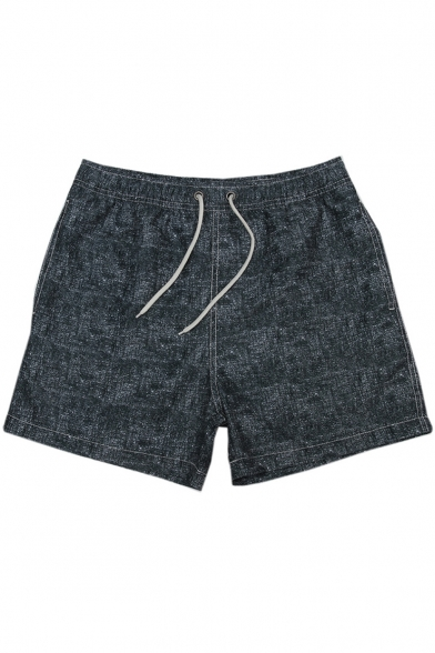 Mens Heathered Red Elastic Drawstring Fast Drying Plain Swim Trunks Short Swimwear with Pockets
