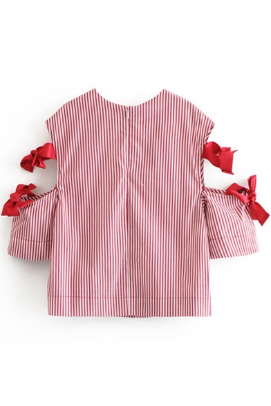 Round Neck Hollow Out Short Sleeve Bow Embellished Striped Blouse
