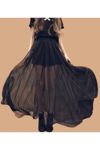 Sheer Chiffon Patched Elastic Waist Maxi Asymmetric Hem Skirt