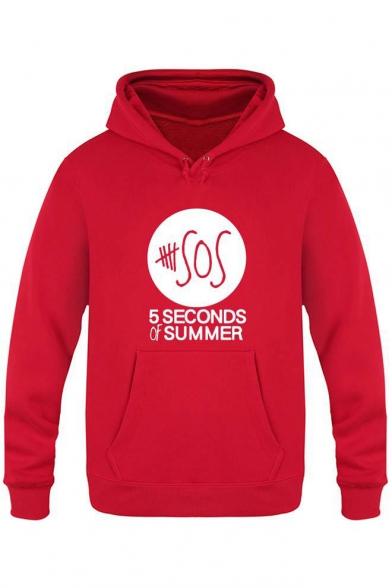 Sleeve Printed SOS Letter Long Hoodie atpp57xq