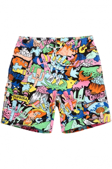 Top Designer Elastic Monster Cartoon Print Bathing Trunks Shorts Men with Drawstring and Pockets
