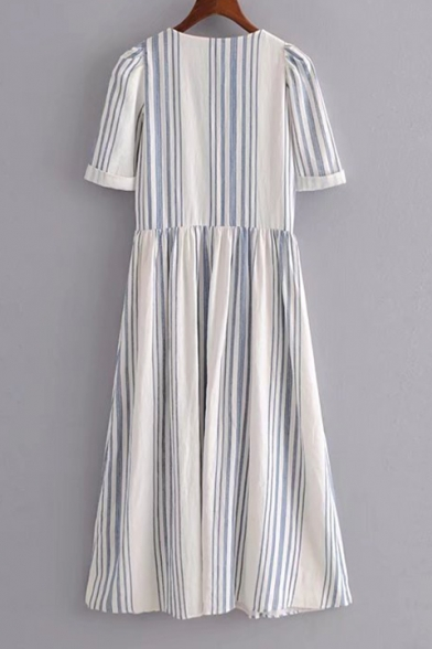 V-Neck Stripes Single Breasted Button Short Sleeve Dress with Double Pockets