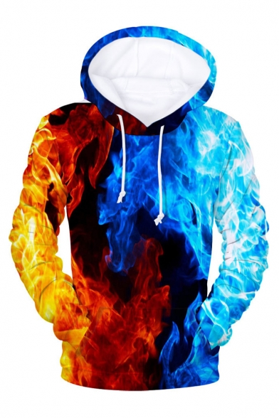3D Color Block Fire Printed Long Sleeve Hoodie
