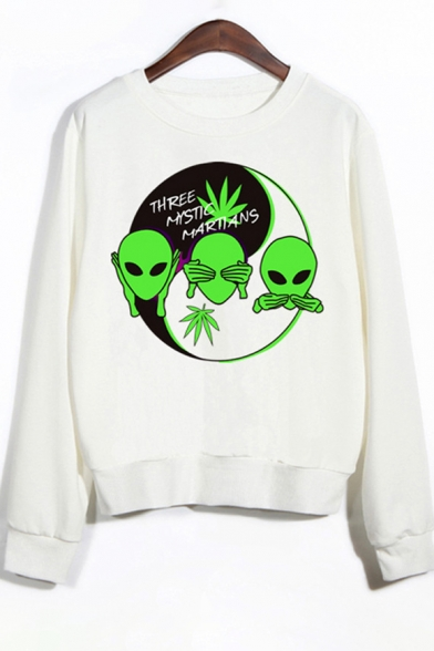 Printed Round Neck ALIEN Sweatshirt Letter Long Chi Tai Pattern Sleeve qwnxRPnHO