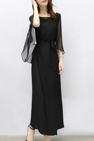Boat Neck Split Long Sleeve Tied Waist Plain Maxi Chiffon Dress
