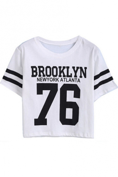 Striped BROOKLYN Printed Crop Neck Tee 76 Short Contrast Letter Round Sleeve wqAtIA