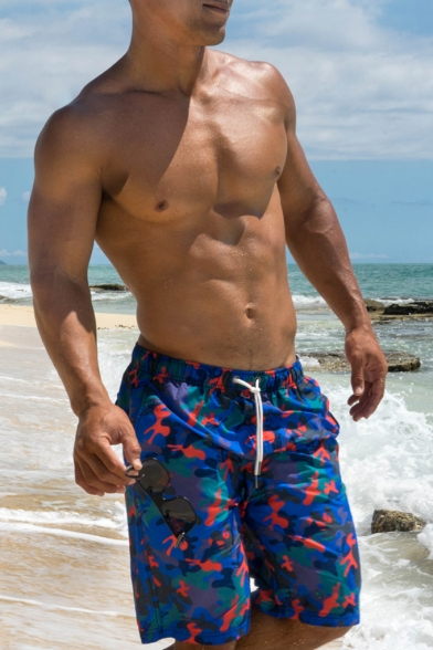 Camo Men's Blue and Red Swim Trunks Shorts with Hook and Loop Pockets