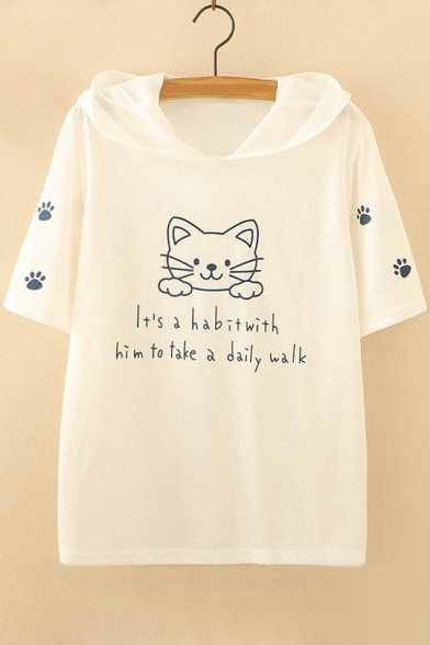 Letter Printed Cartoon Sleeve Cat Short Tee Hooded zqWFHPW